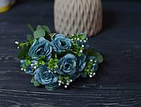 Букет роза капустная винтажный бирюзовый