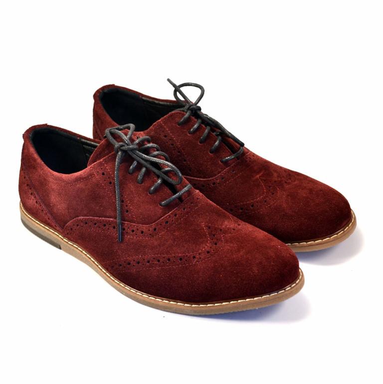 Бордовые туфли броги оксфорды замшевые мужская обувь комфорт Rosso Avangard Romano Marsala Vel цвет марсала