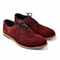 Бордовые туфли броги оксфорды замшевые мужская обувь комфорт Rosso Avangard Romano Marsala Vel цвет марсала, фото 1