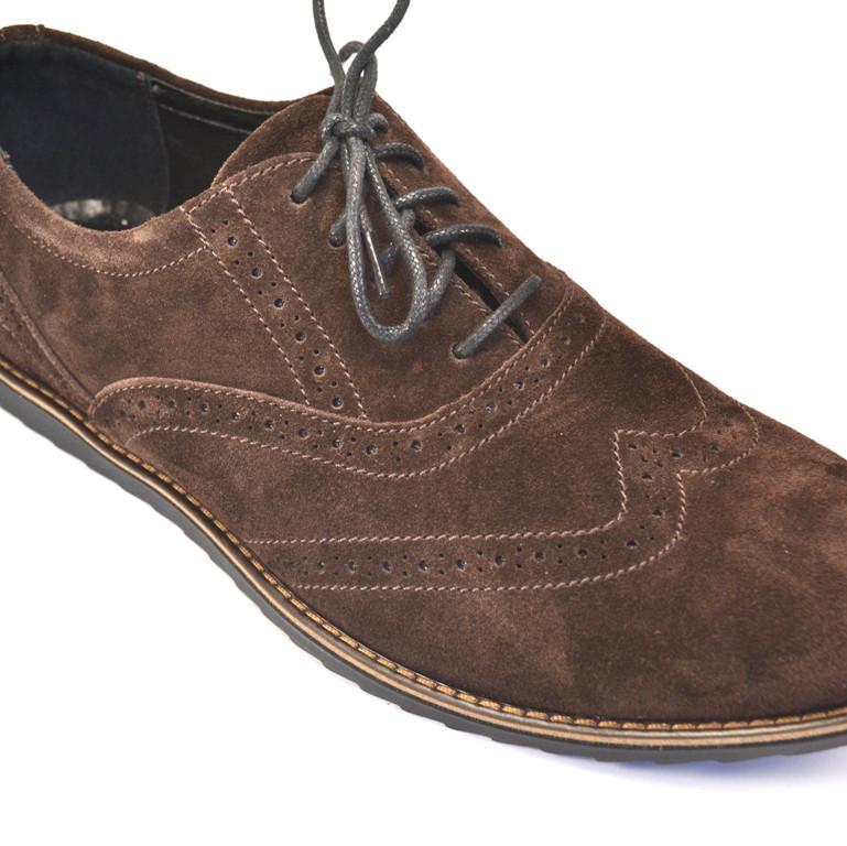 Легкие туфли броги мужские коричневая замша Rosso Avangard Persona Breakage Brown Vel