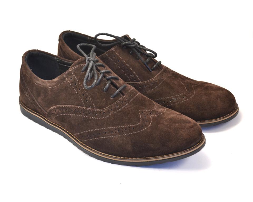 Легкие туфли броги замшевые коричневые мужская обувь комфорт Rosso Avangard Persona Breakage Brown Vel