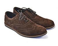 Легкие туфли броги замшевые коричневые мужская обувь комфорт Rosso Avangard Persona Breakage Brown Vel, фото 1