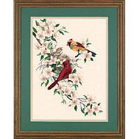 Набор для вышивки гладью Dimensions 1516 «Птички кардиналы в Догвуде»