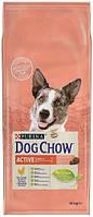 Dog Chow Adult для взрослых активных собак с курицей, 14 кг