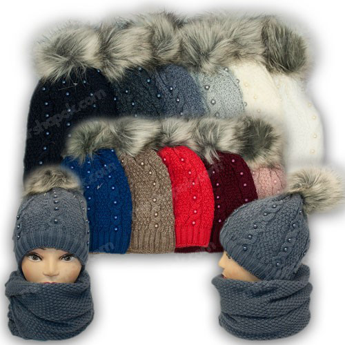 ОПТ Комплект - шапка і шарф (хомут) для дівчинки (5шт/набір)