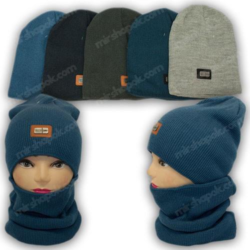 ОПТ Комплект - шапка і шарф (хомут) для хлопчика, р. 50-52 (5шт/набір)