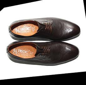 Мужские коричневые кожаные туфли (броги, оксфорды) ікос/ikos