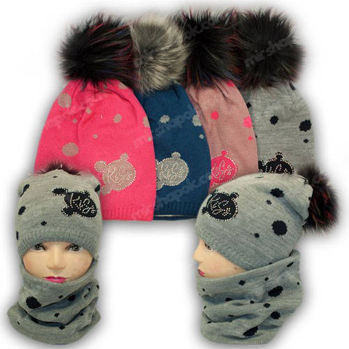 Комплект - шапка и шарф (хомут) для девочки