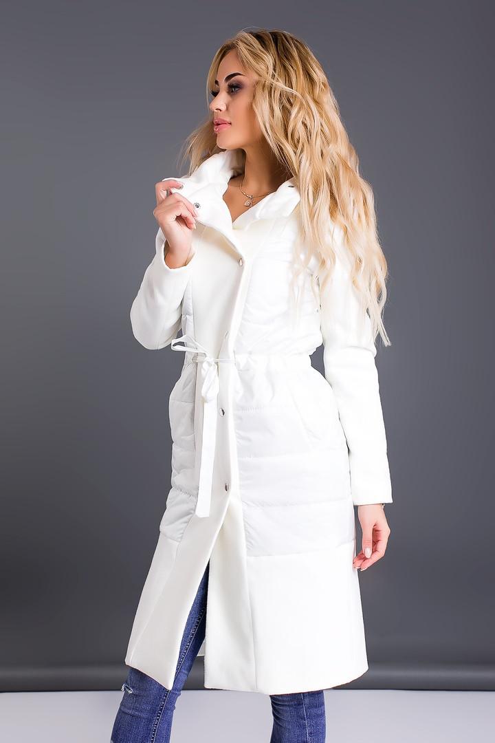 Женское пальто на кнопках с капюшоном,в сочетании кашемир и плащевая ткань