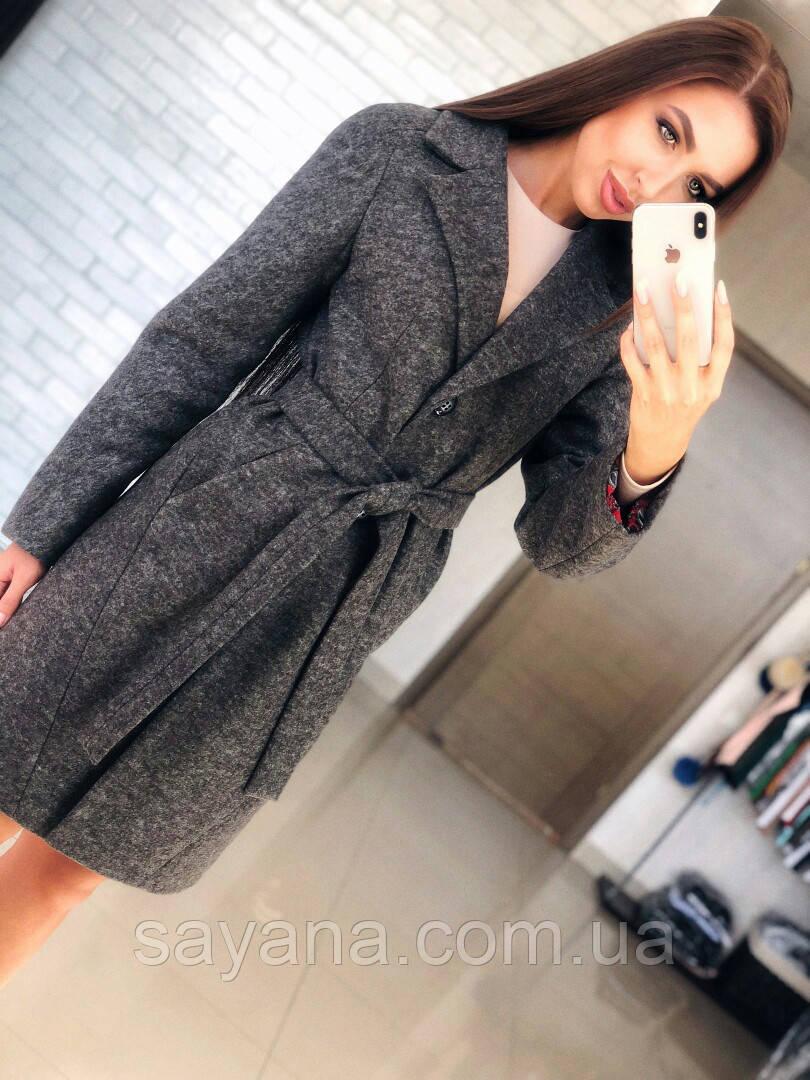 Женское пальто с поясом из шерсти в расцветках. Т-4-0818
