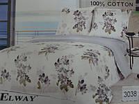 Сатиновое постельное белье полуторка ELWAY 3038