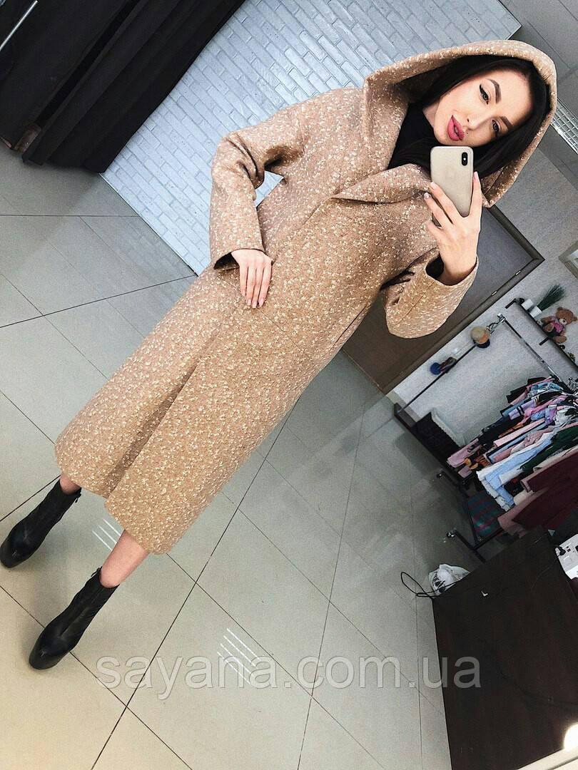 """Женское пальто """"МАРТА"""" с капюшоном в расцветках, р-р 42 по 48. Т-8-0818"""