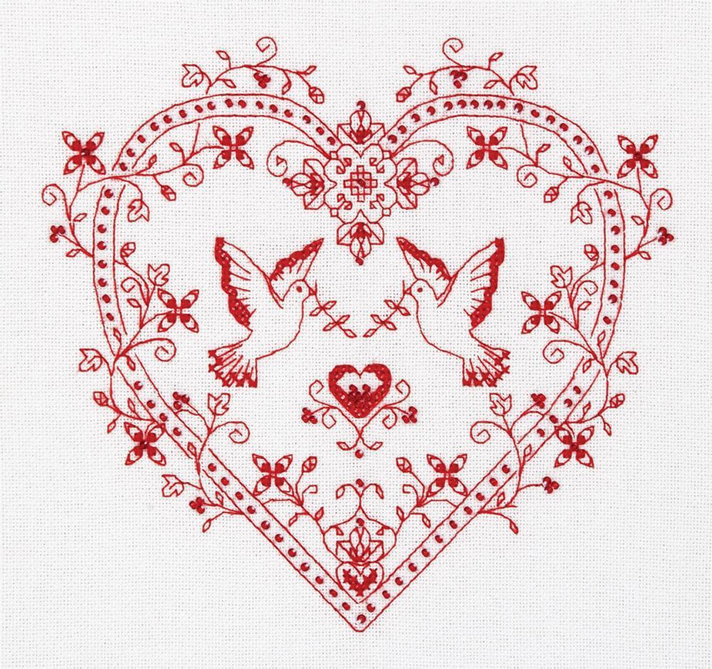 Набор для вышивки крестом Panna СО-1403 «Сердце с голубями»