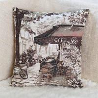 Набор для вышивки крестом Panna ПД-1726 Подушка «Парижское кафе»