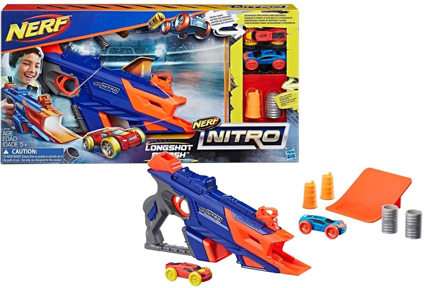 Бластер Нёрф стреляющий машинками, Nerf Nitro Longshot Smash, Hasbro, Оригинал из США