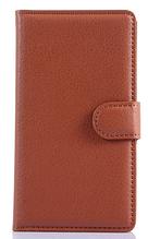 Кожаный чехол-книжка для Sony Xperia E4 E2115 коричневый