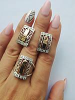 Серебряные серьги и кольцо с золотыми вставками в греческом стиле