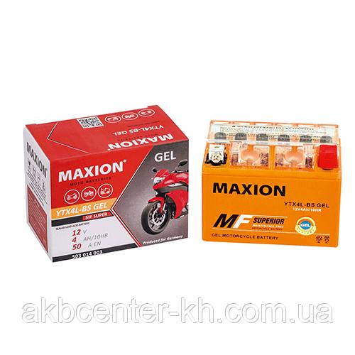Мото аккумулятор GEL MAXION YTX 4L-BS (12V, 4A)