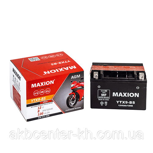 Мото аккумулятор AGM MAXION YTX 9-BS (12V, 8A)