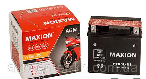 Мото аккумулятор MOTO AGM MAXION YTX 5L-BS (12V, 4A)