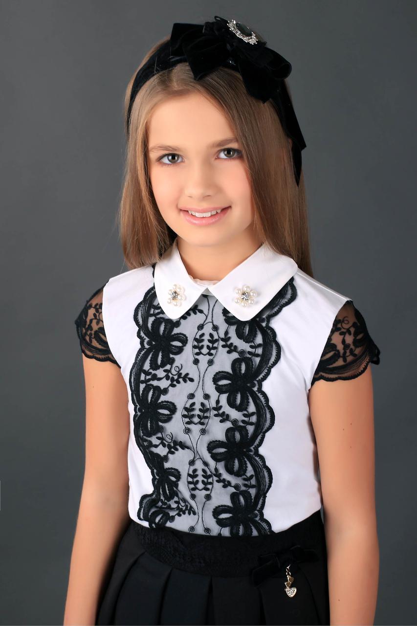 Школьная блузка  МОНЕ с черным  кружевом р-ры 122,128,134,140,146,152,158,164