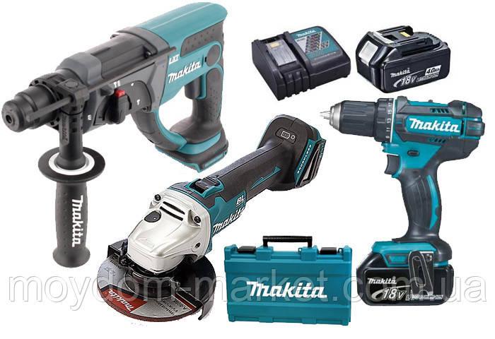 Набір інструментів Makita DLXMUA504 LXT 18В ( DGA504Z, DHR202Z, DDF482Z, DC18RC, BL1830x3шт)