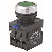 Кнопка NP8-10BND/3 с индикацией AC 110V-230V 1NO IP65 зелёная