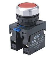 Кнопка NP8-11BND/4 с индикацией AC 110V-230V 1NO+1NС IP65 красная