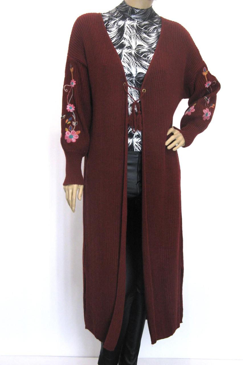 довгий вязаний кардиган з вишивкою