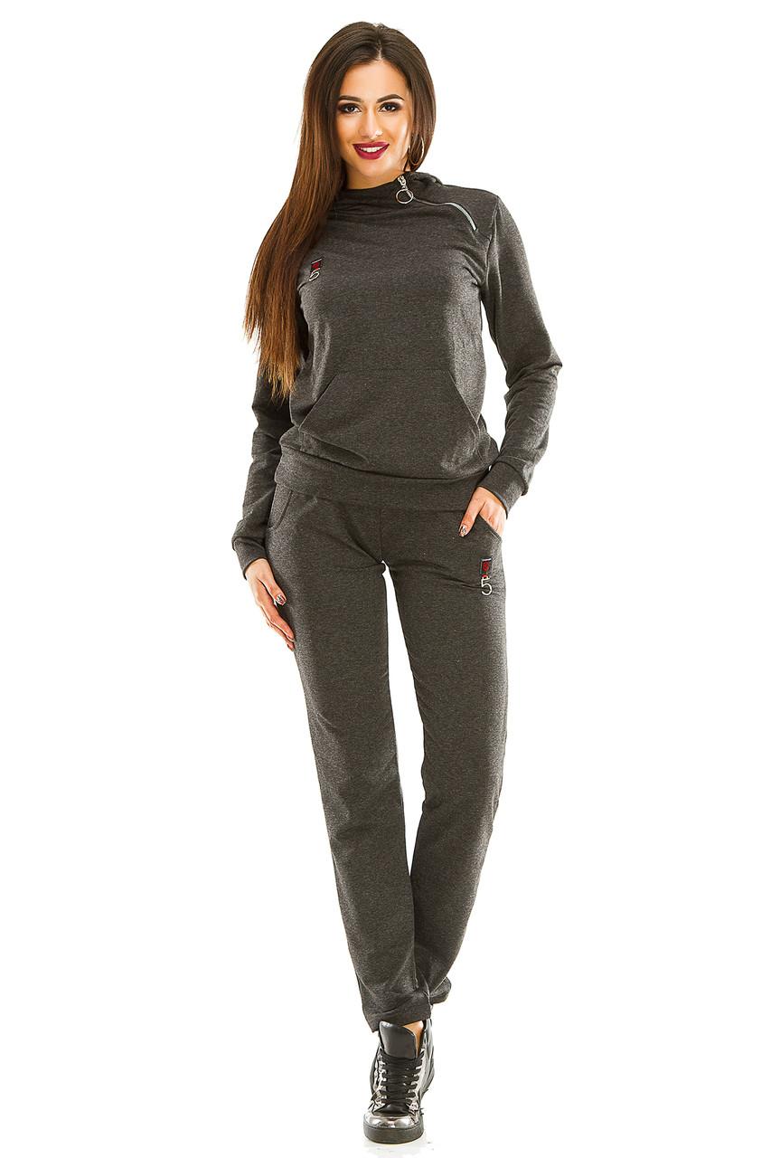 Женский спортивный костюм 434 темно-серый 42-44