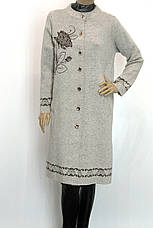 Жіноче  шерстяне пальто оброблене перлинками, фото 3