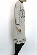 Жіноче  шерстяне пальто оброблене перлинками, фото 2