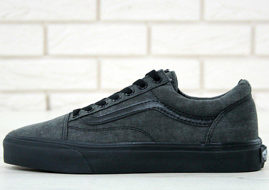 Кеды Vans Old Skool  Washed  Dark Grey Black, (унисекс) Ванс Олд ... ac9047038c4