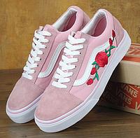 Кеды Vans Old Skool Pink Roses, Кеды Ванс Олд Скул розовые с розами