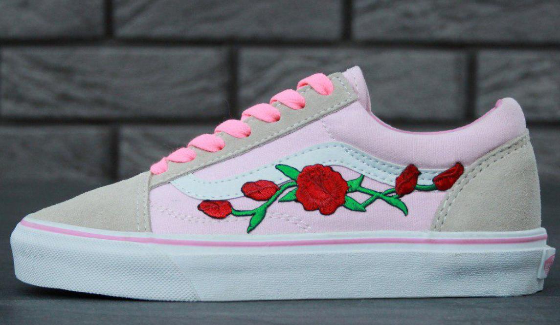 Кеды Vans Old Skool Roses, Кеды Ванс Олд Скул розовые с розой