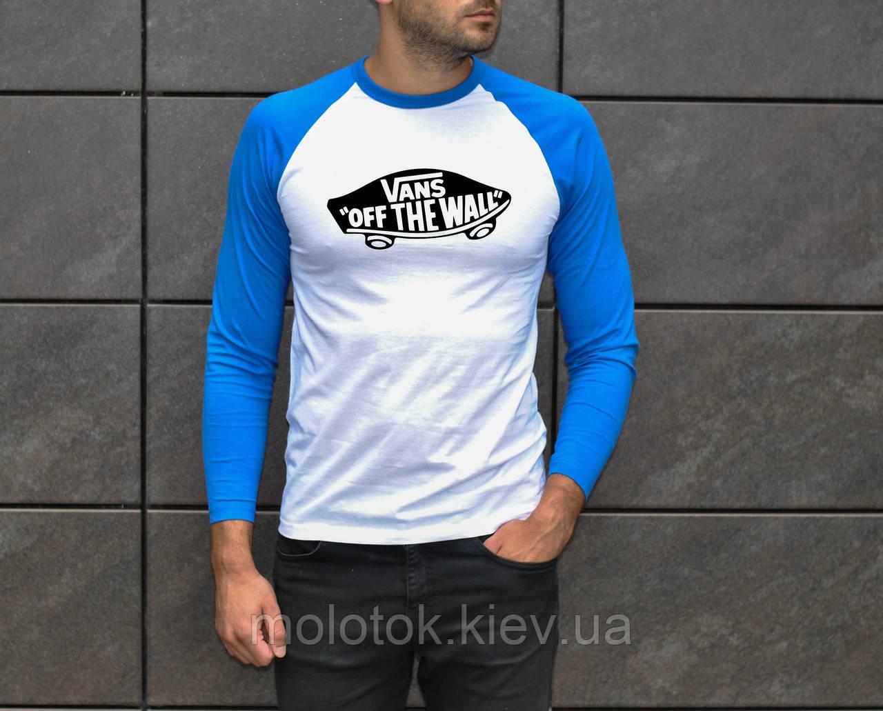 Мужская футболка с рукавом в стиле Vans белая с рукавами