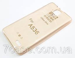 Чехол для Lenovo A536 силиконовый ультратонкий прозрачный золотой