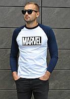 Мужская футболка белая с темно синим в стиле Марвел