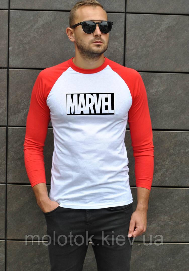 Мужская футболка джерси белая с красным в стиле Марвел