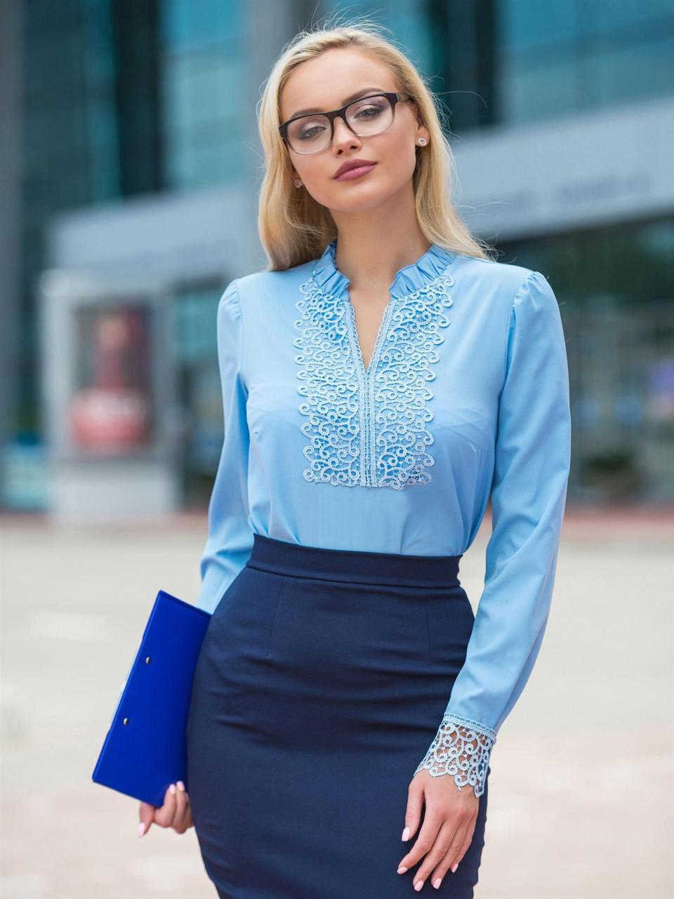 (S, M, L, XL) Вишукана романтична блакитна блузка Junis