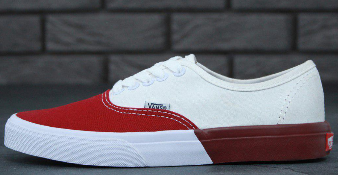 Кеды Vans Authentic white red, ванс аутентик
