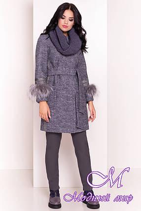 Женское демисезонное пальто с хомутом и мехом (р. S, M, L) арт. Приоритет 5267 - 36490, фото 2