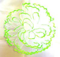 Бант ручной работы бело-салатовый, диаметр 15 см