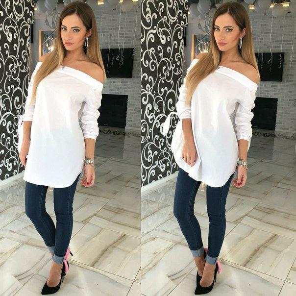 Удлиненная блуза рубашка с открытыми плечами ft-263 белая