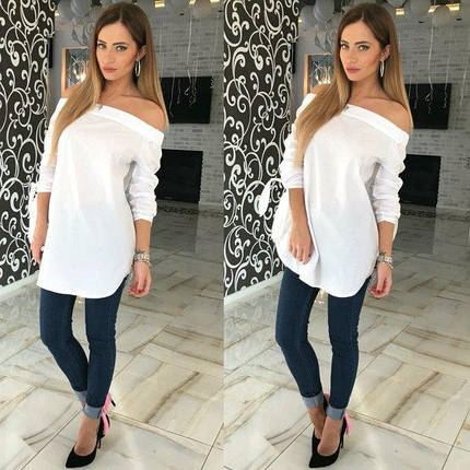 Удлиненная блуза рубашка с открытыми плечами ft-263 белая, фото 2
