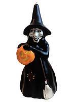 Свеча череп колдунья с тыквой на хеллоуин (разные цвета)