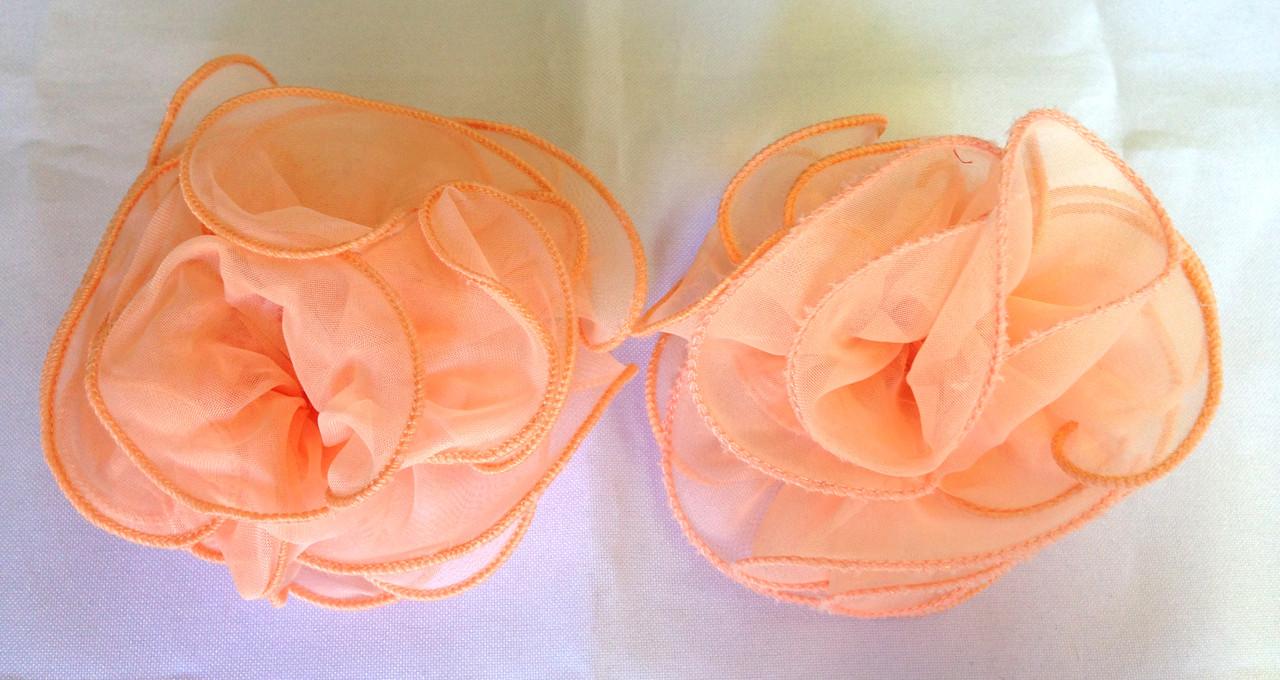 Банты ручной работы, персиковые, диаметр 9 см