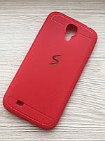 Матовый силиконовый красный чехол Samsung S4 i9500 в упаковке, фото 1