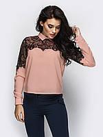 (XS, S, M, L, XL) Жіноча темно-бежева блузка з гіпюром Kristy