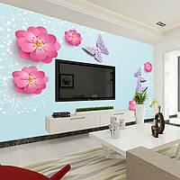 """3D фотообои """"Цветы и бабочки на голубом фоне"""""""